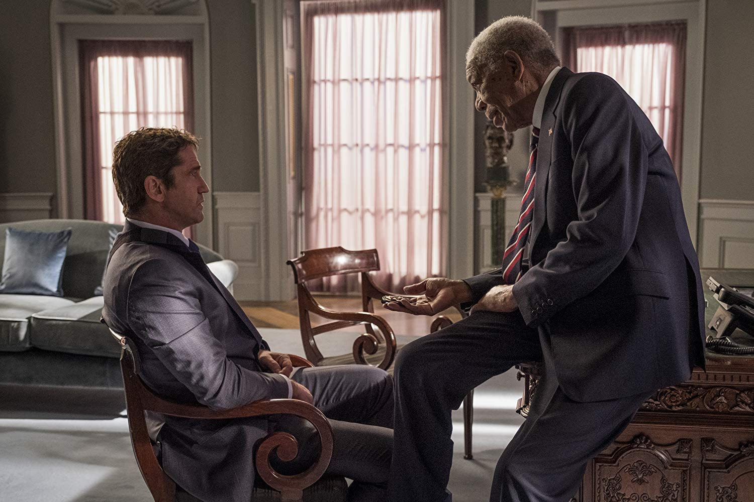 Angel Has Fallen Gerard Butler and Morgan Freeman as Mike Banning and Allan Trumbull