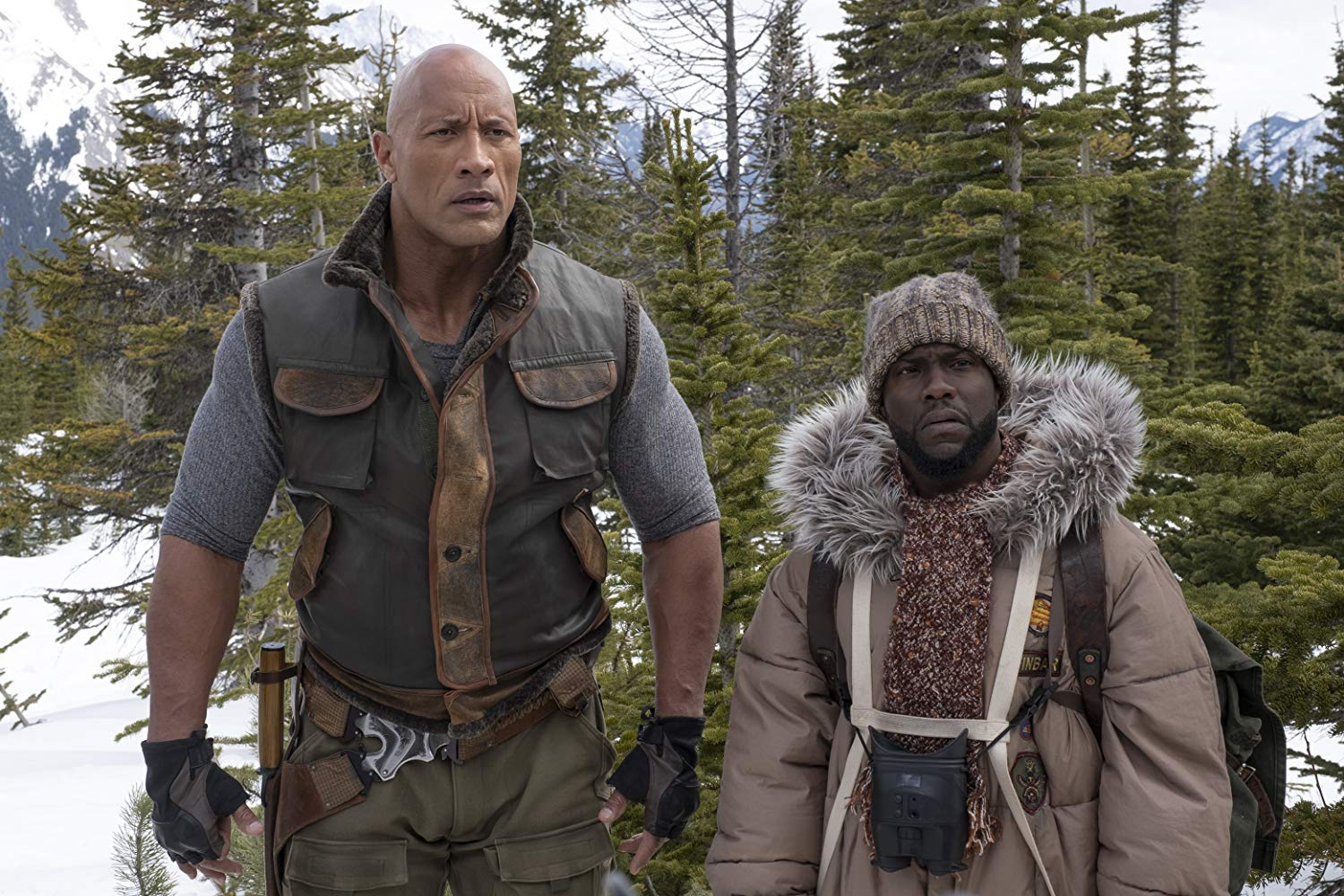 Jumanji The Next Level snowy backdrop and winter costumes