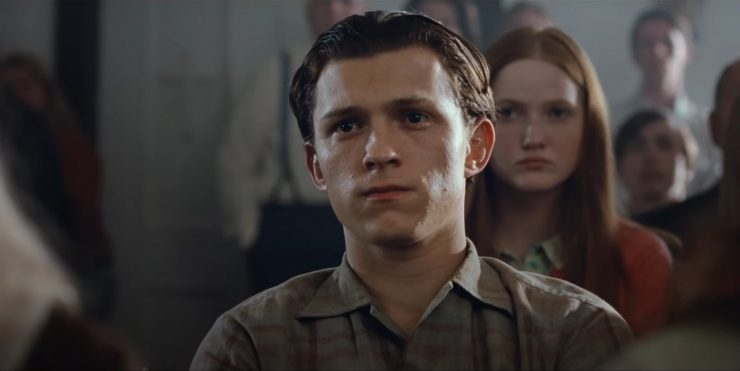 The Devil All The Time Tom Holland Arvin Russell in Church