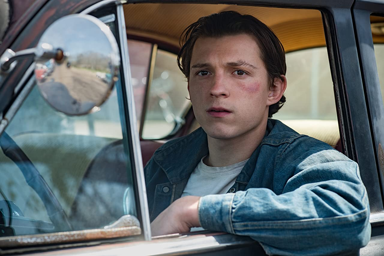 The Devil All The Time Tom Holland Arvin Russell bruised face truck