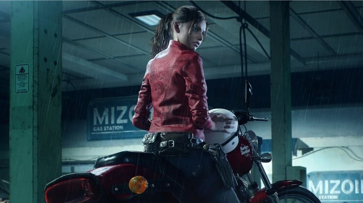 Resident Evil 2 Remake Claire Redfield on Harley Davidson